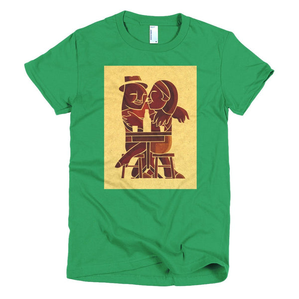 Couple at Bar women's t-shirt bright green