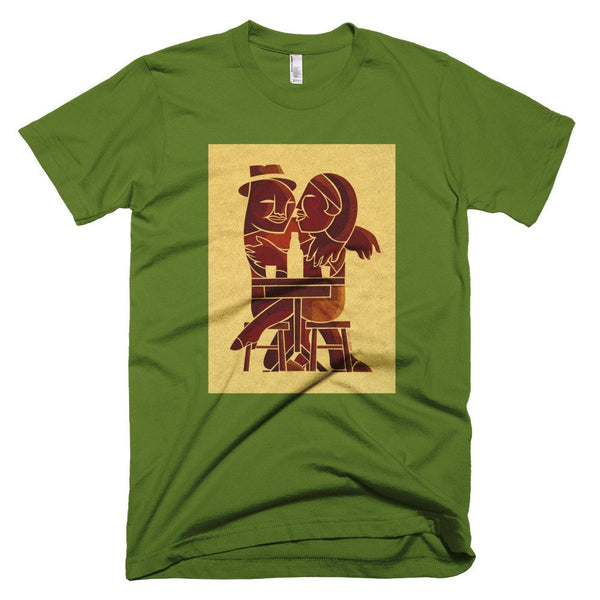 Couple at Bar men's t-shirt green