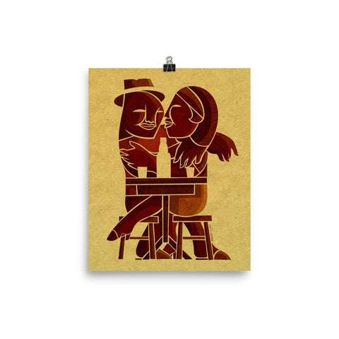 Beach Umbrella Couple paper poster