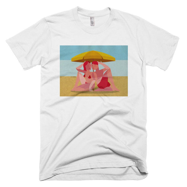 Beach Umbrella Couple men's t-shirt white