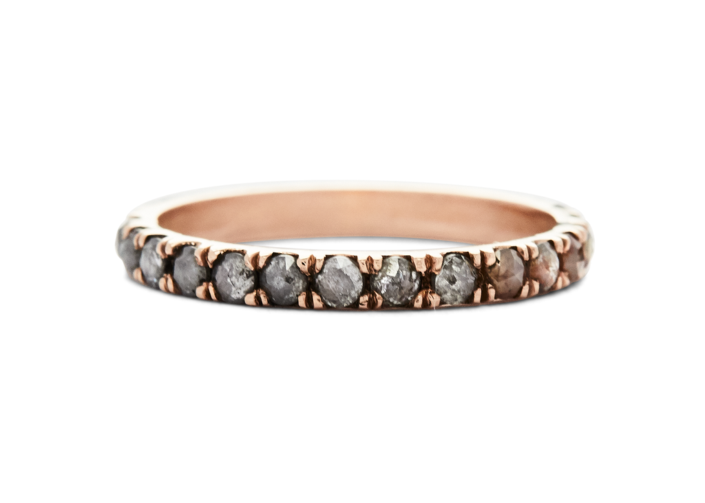 jaye / half eternity band / rose gold pave rosecut - casual seance