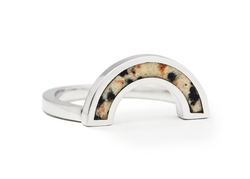 Casual Seance Dalmatian Jasper Inlay Rainbow Ring