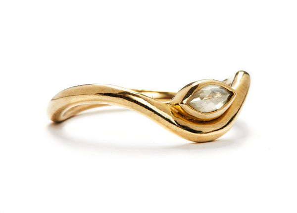 casual seance - curved yellow gold band with milky white  marquise diamond