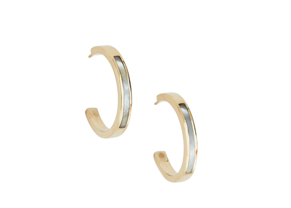 margot hoops / gold + mother of pearl - casual seance
