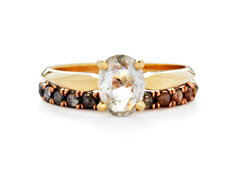 jaye / half eternity band / rose gold pave rosecut
