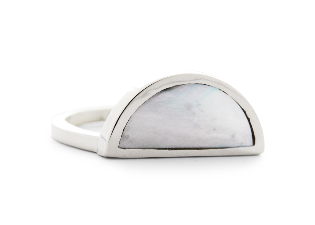 one half ring / silver + mother of pearl - casual seance