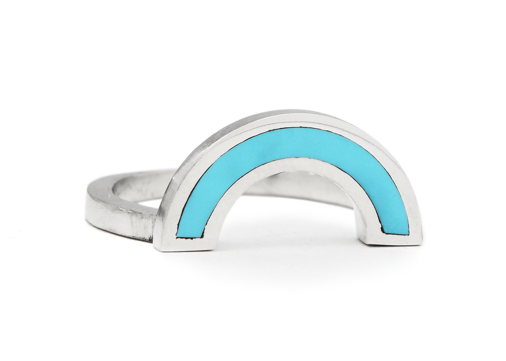 rainbow ring / silver + turquoise - casual seance