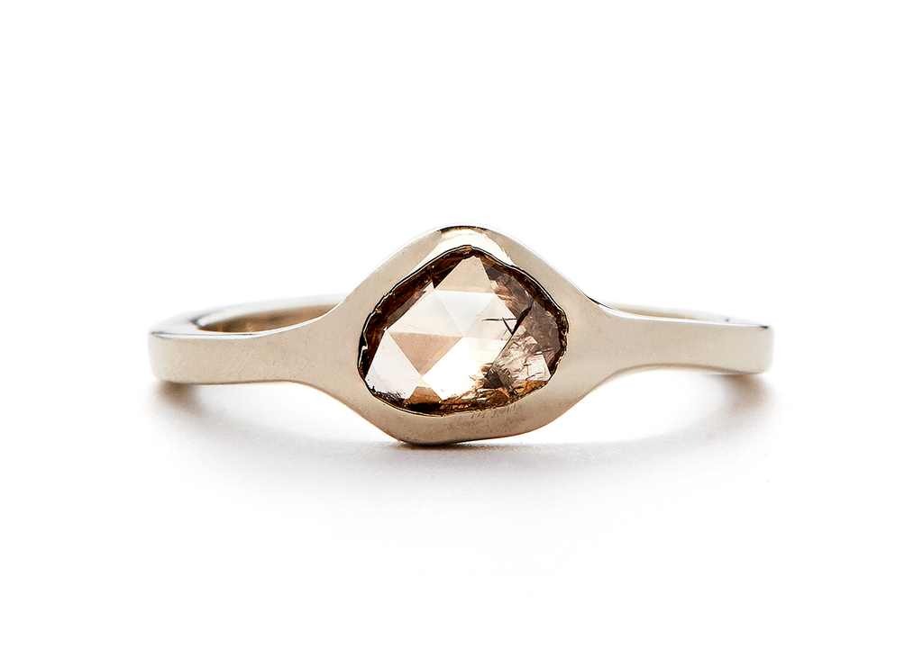 casual seance - amorphous rosecut champagne diamond ring