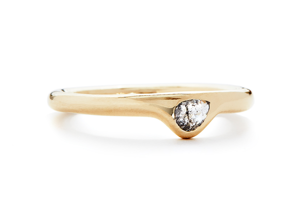 casual seance - baby pear salt + pepper diamond ring