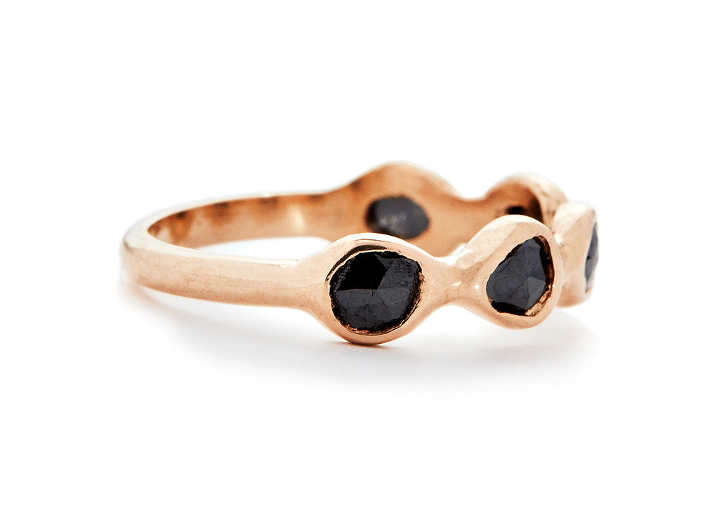 casual seance - amorphous rosecut black diamond band
