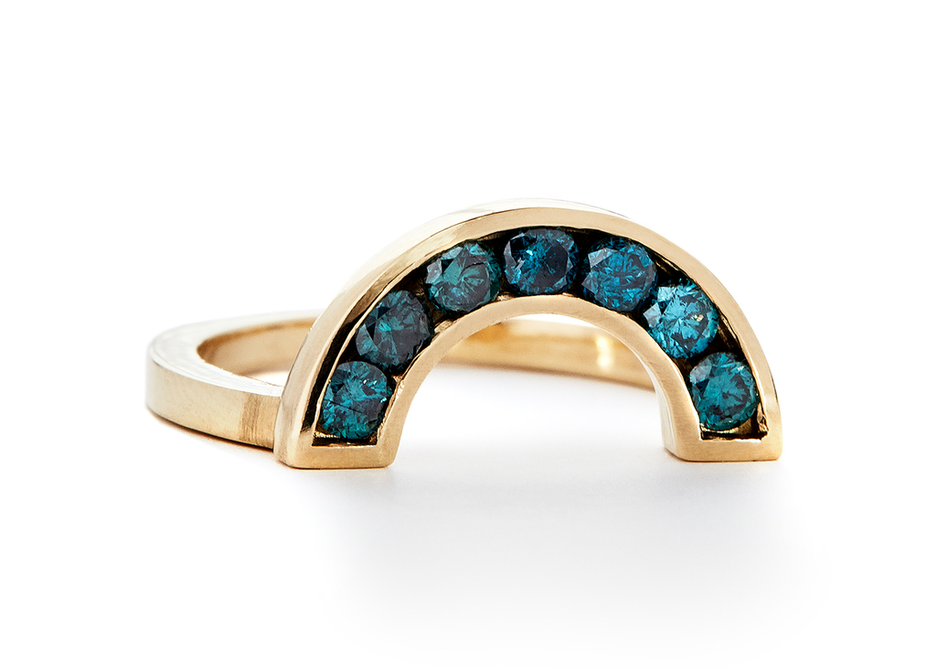 casual seance - blue diamond rainbow ring - 14k yellow gold