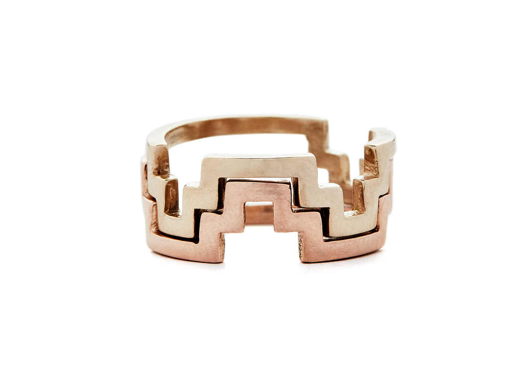 casual seance - stacking gold chakana ring