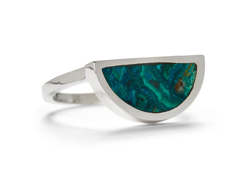 one half ring / chrysocolla with malachite