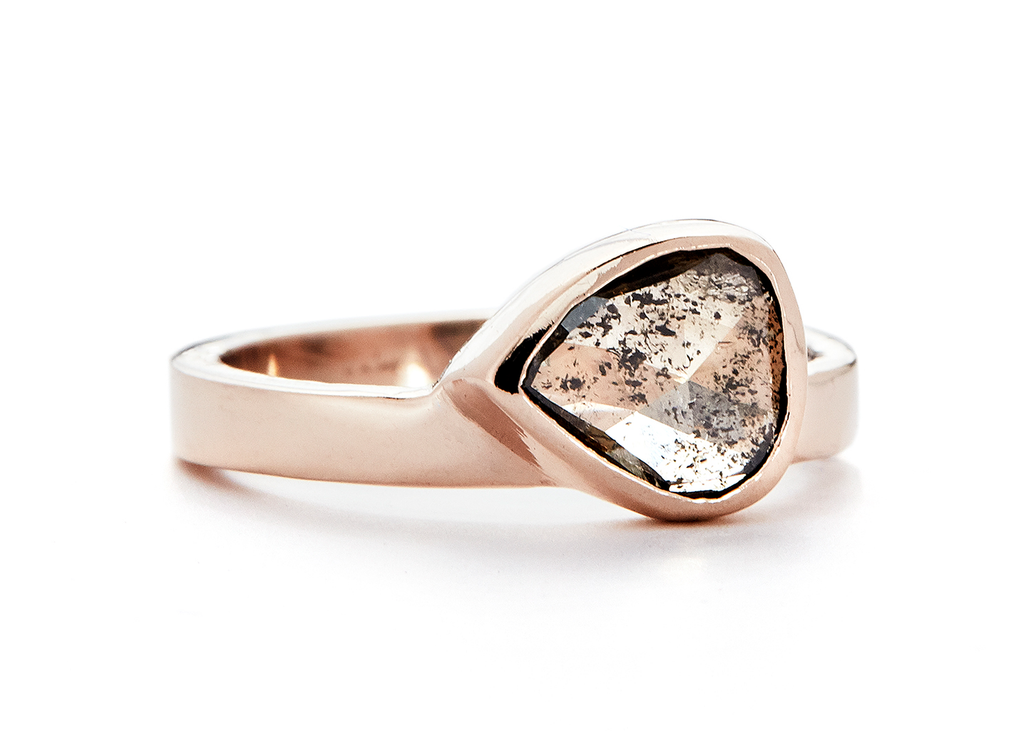 champagne gold amorphous diamond slice solitaire ring