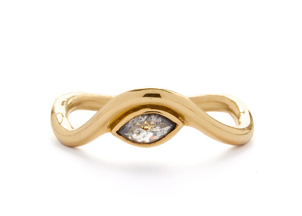 casual seance - curved yellow gold band with salt + pepper marquise diamond