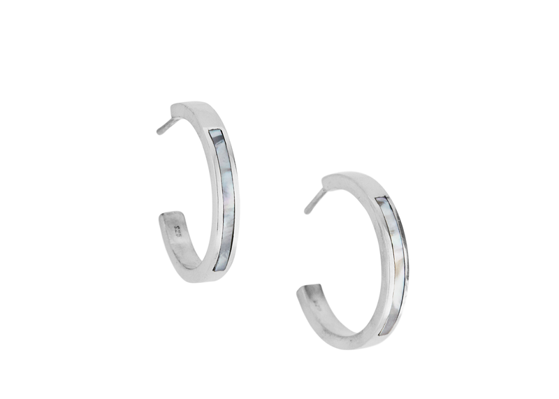 margot hoops / silver + mother of pearl - casual seance