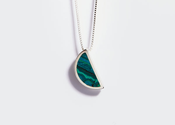 mini gem pendant / chrysocolla with malachite