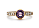 casual seance - pink sapphire engagement ring - 14k yellow gold