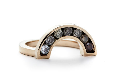casual seance - ombre champagne diamond gold rainbow ring