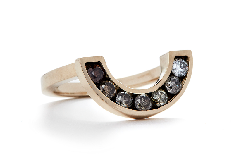 rainbow ring / white gold + ombre champagne diamonds - casual seance