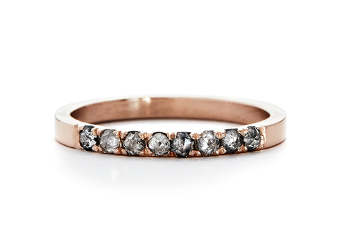 casual seance - quarter band - pave rosecut diamond band