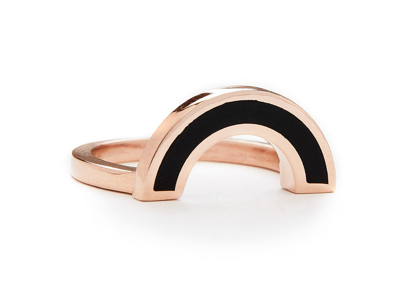 rainbow ring / rose gold + onyx - casual seance