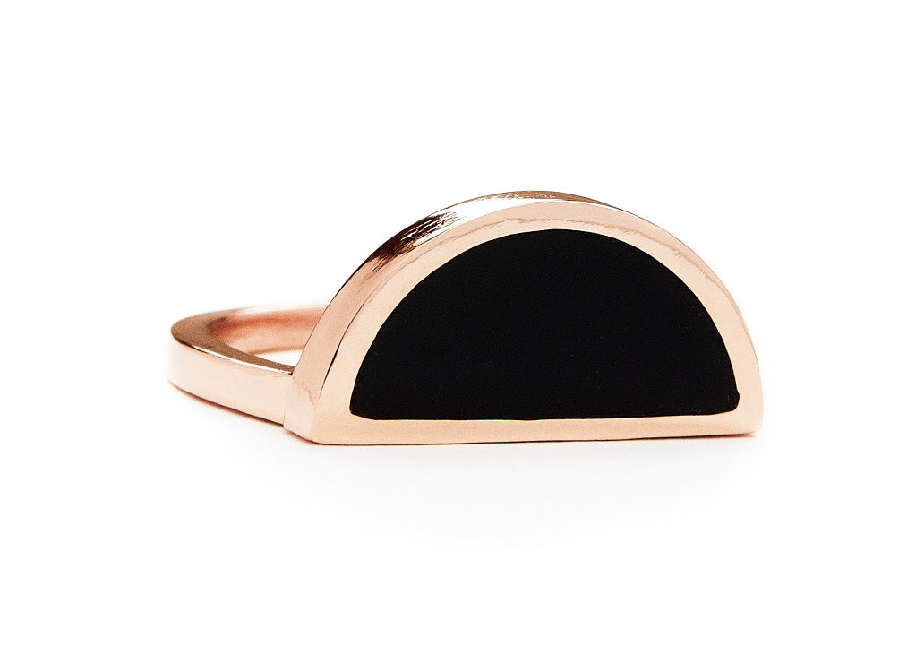 one half ring / rose gold + onyx - casual seance