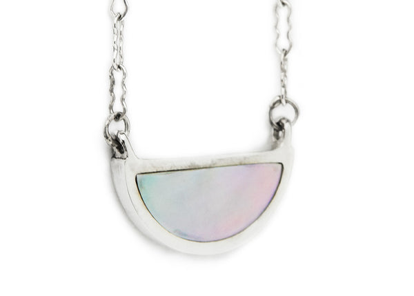 one half pendant / silver + mother of pearl