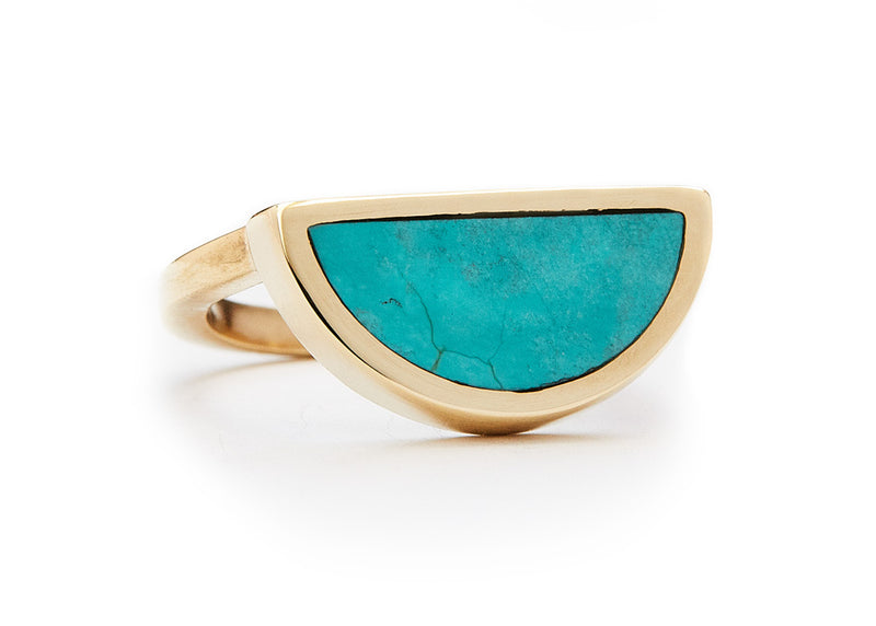 one half ring / yellow gold + turquoise - casual seance