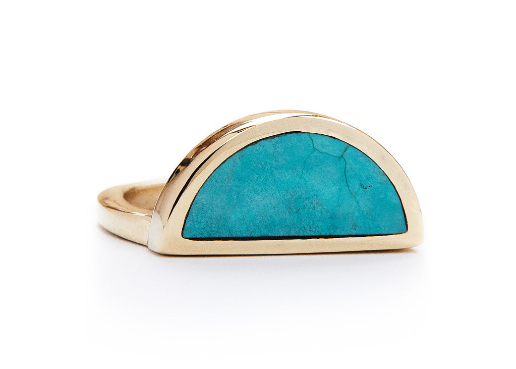 one half ring / yellow gold + turquoise