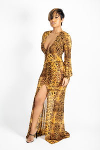 Leopard long dress with cuff sleeves