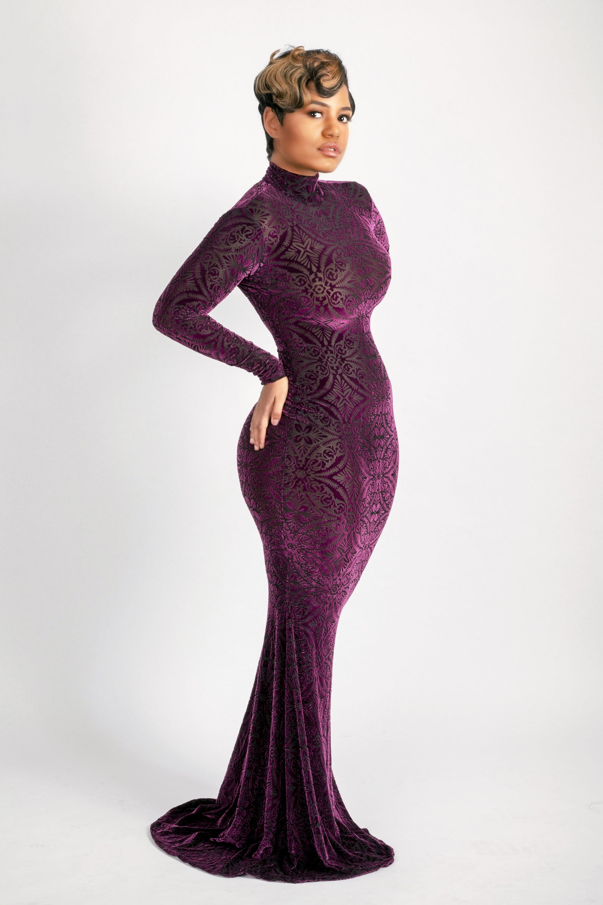 Hight neck purple burnout long dress