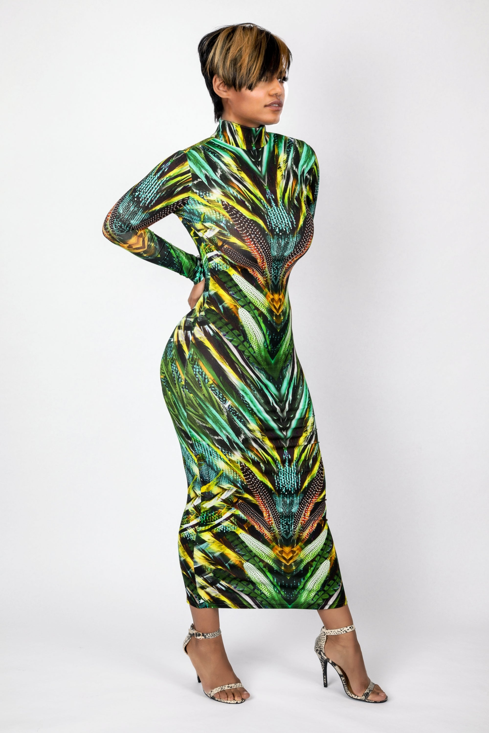 Tropical jersey Long sleeves open back dress