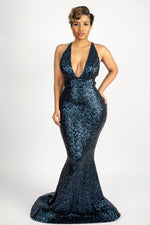 Load image into Gallery viewer, Navy blue sequins gown with crystals straps