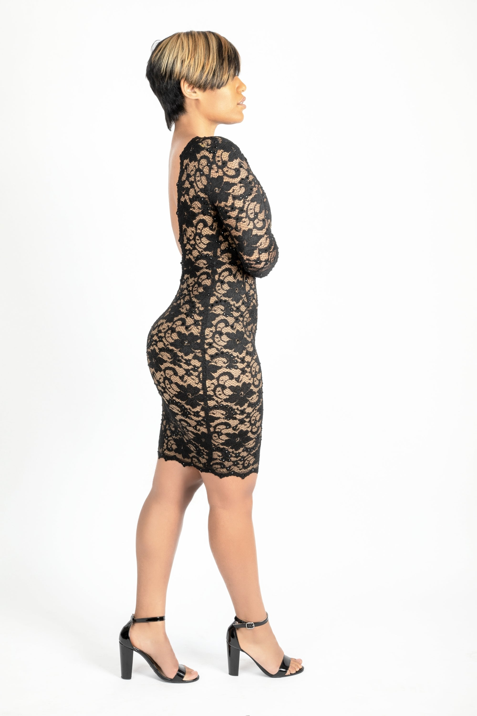 Open back black lace dress with crystals