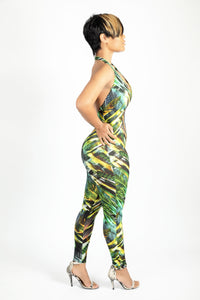Tropical fitted back out jumpsuit