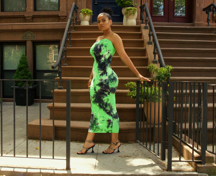 Green Tie Dye Bandeau Dress
