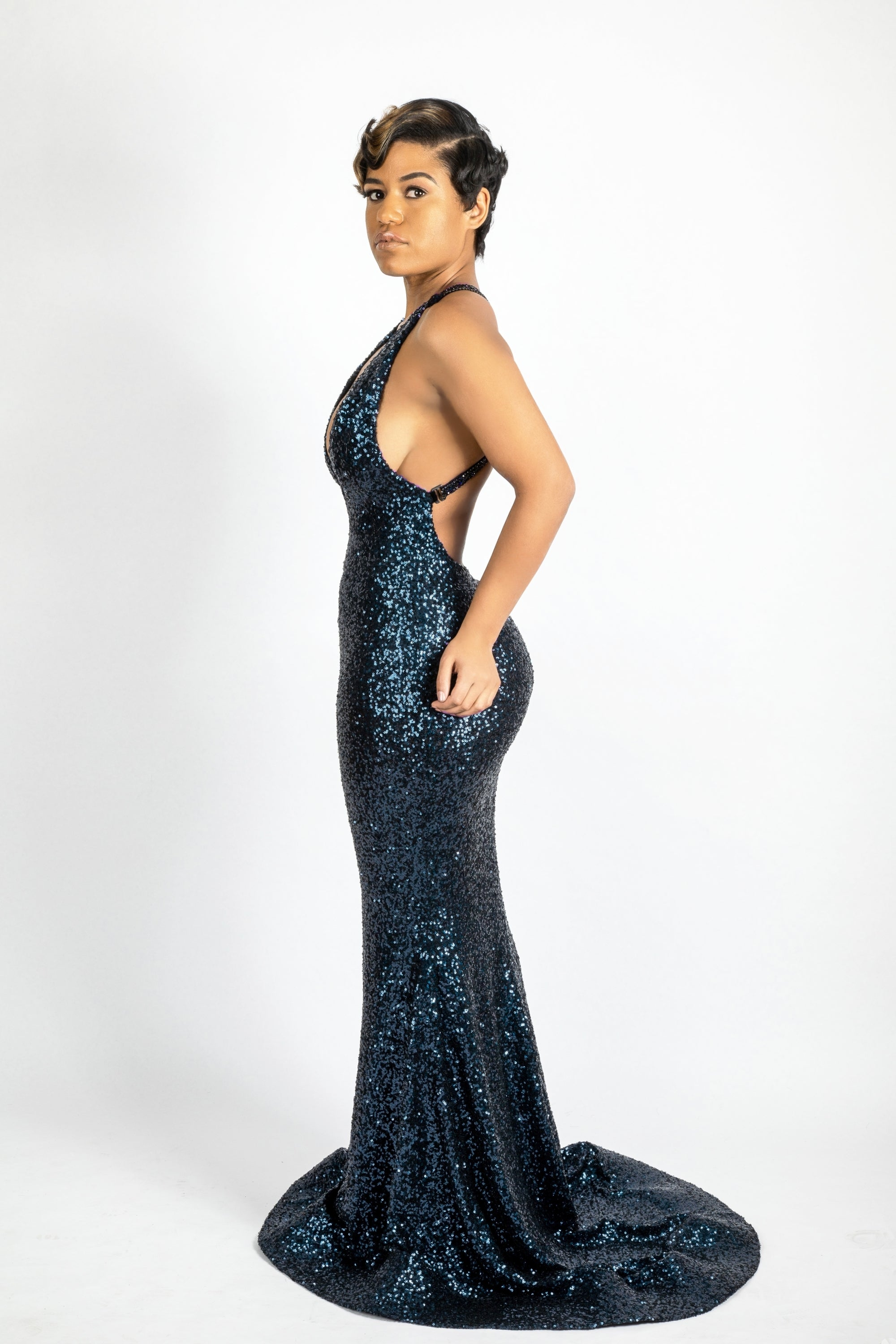 Navy blue sequins gown with crystals straps