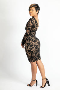 Black halter  lace dress with crystals