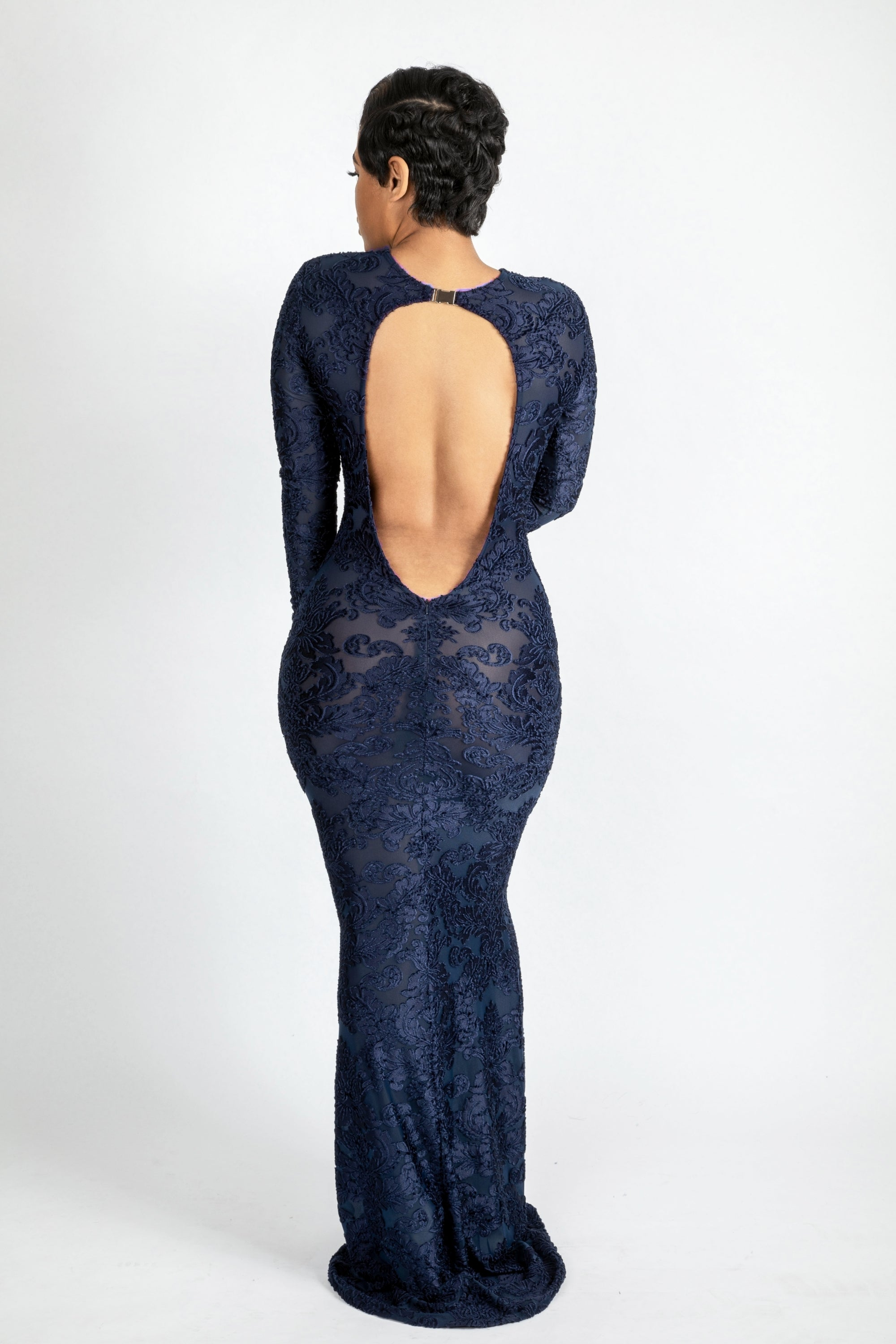 Navy Blue Burnout long dress