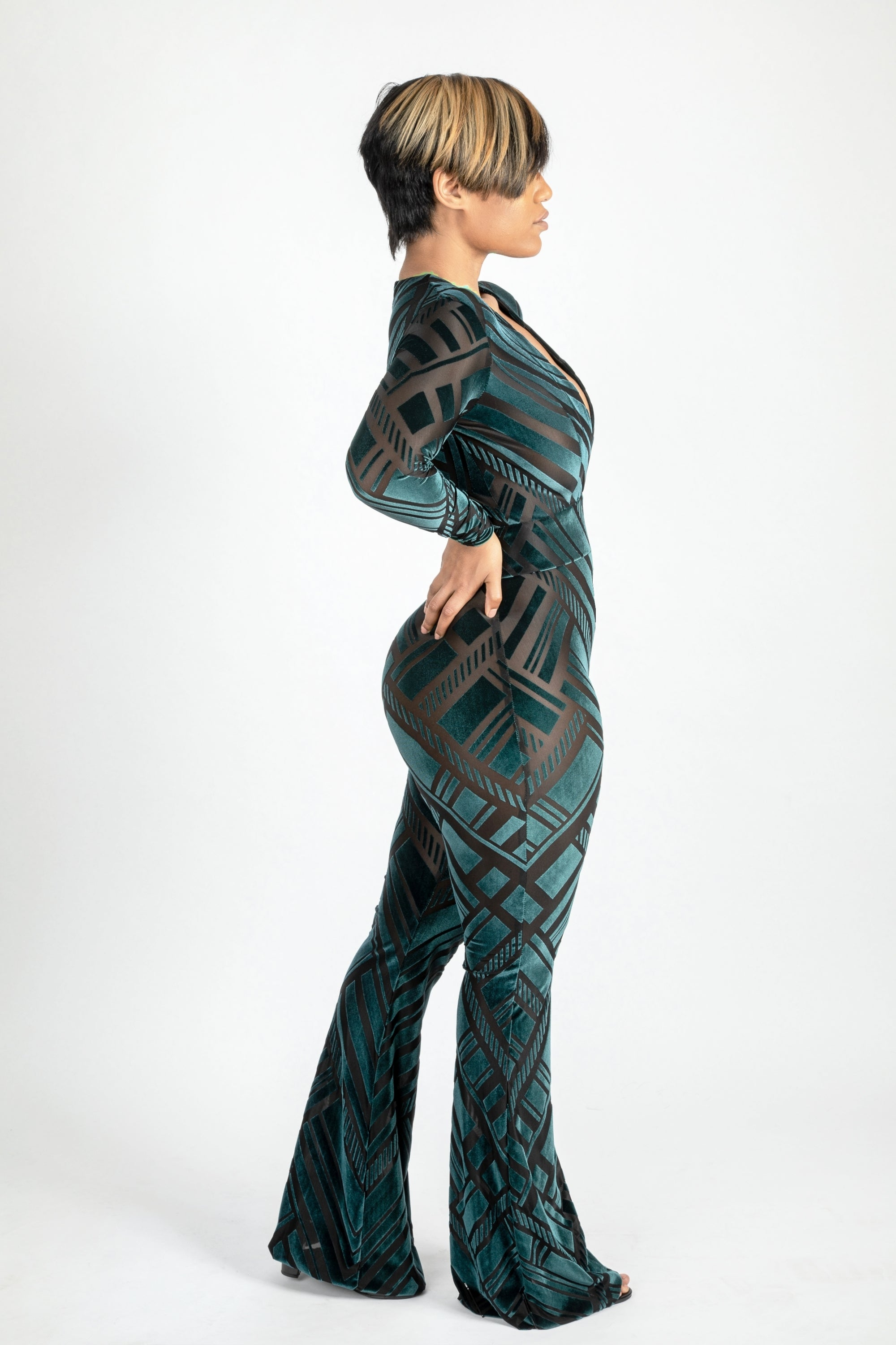 Emerald green burnout Open V jumpsuit