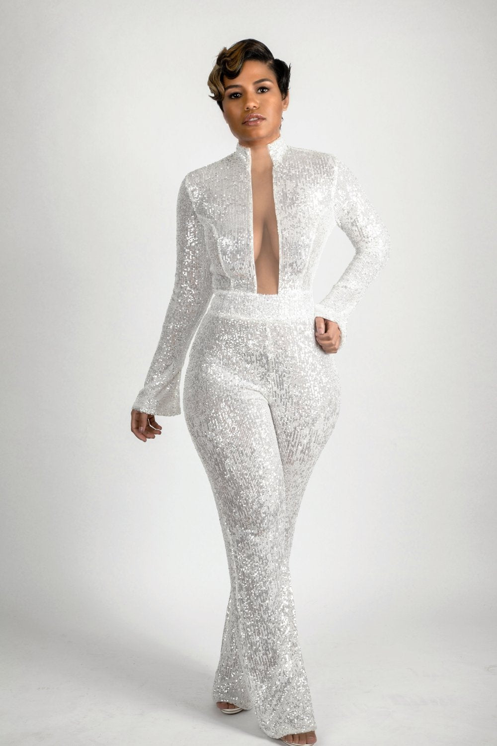 Hight neck white Sequin jumpsuit mesh open front