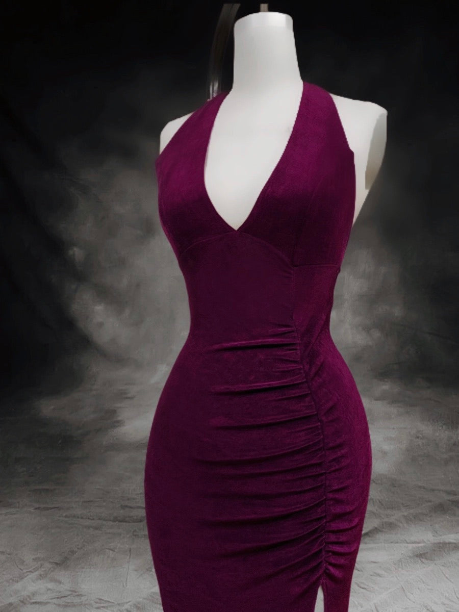 Purple Back out Gown  with gathering