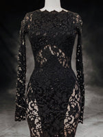 Load image into Gallery viewer, Black crystals and lace gowns