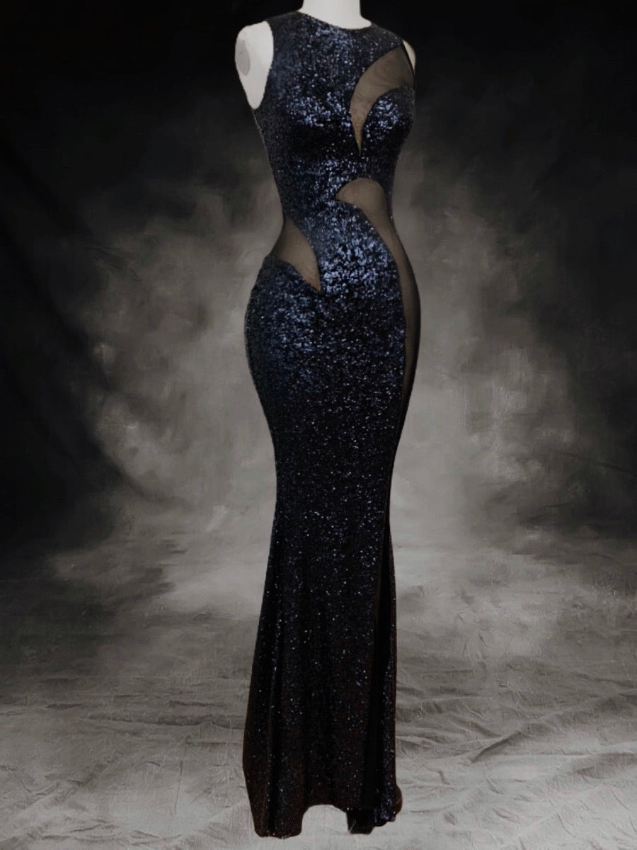 Dark blue sequins gowns