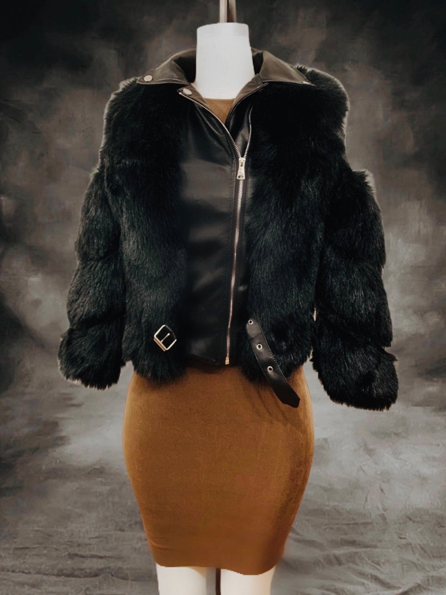 Vegan faux fur  and leather jacket