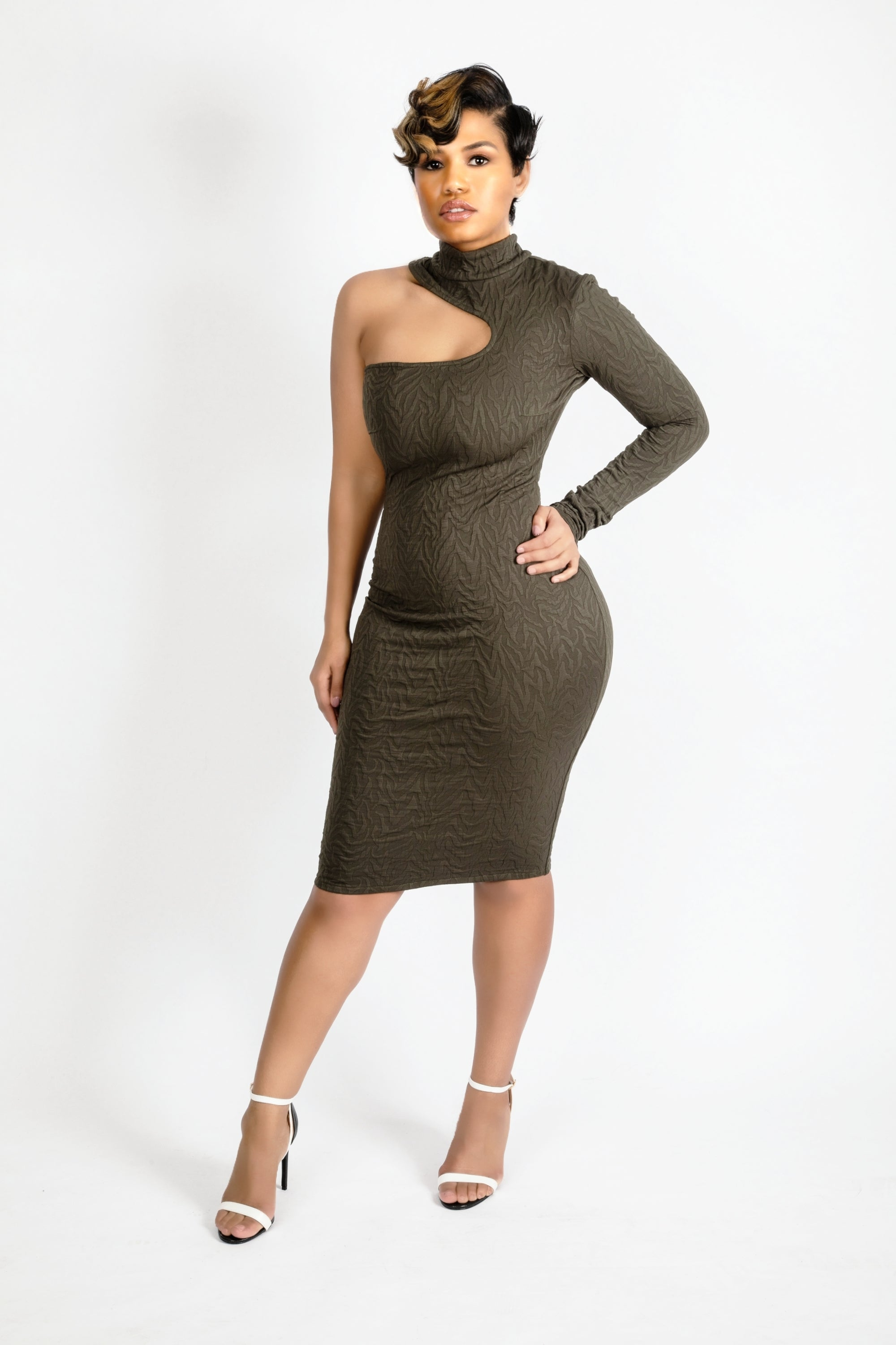 One sleeve khaki dress