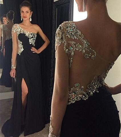 Black One Shoulder Long Prom Dress With Beading Fashion Winter Dance Dress  LP293