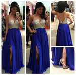 V-neck A-line Beaded Floor Length Prom Dress Semi Formal Dresses Wedding Party Dress LP182
