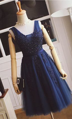 Short Homecoming Dress With Applique And Pearl,Short Prom Party Dress SW067